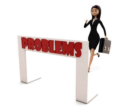 idea hurdle: 3d woman running towards hurdle with problem text concept on white background, side angle view