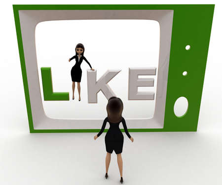 viewing angle: 3d woman watching like on tv concept on white background, front angle view