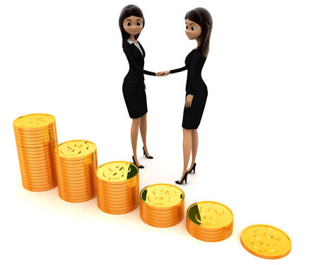 and the stakes: 3d women shaking hand before gold coin stakes concept on white background, side angle view