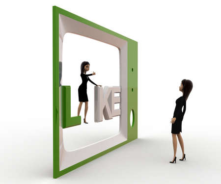 viewing angle: 3d woman watching like on tv concept on white background,  side angle view