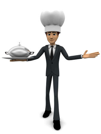 serving dish: 3d man chef serving dish concept on white background, front angle view