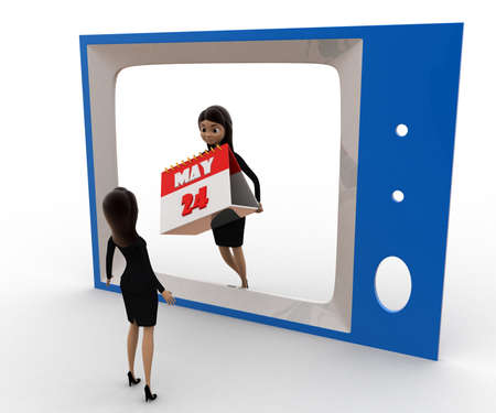 viewing angle: 3d woman watching woman with calender on tv concept on white background, front angle view