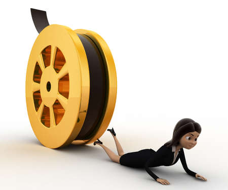 crush: 3d woman about to crush by rolling film reel concept on white background,  side angle view
