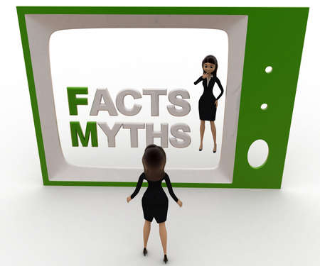 viewing angle: 3d woman watching fact and myths on tv concept on white background, front angle view