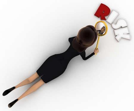 examine: 3d woman examine risk concept on white background, top angle view Stock Photo