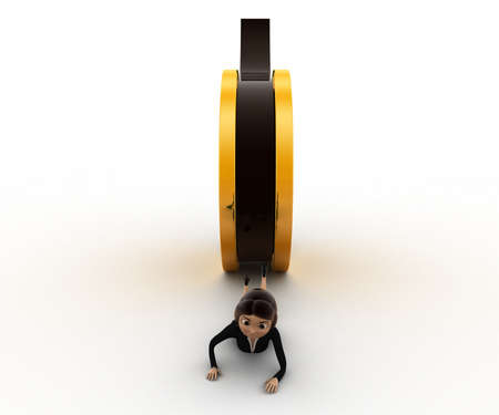 crush on: 3d woman about to crush by rolling film reel concept on white background, front angle view