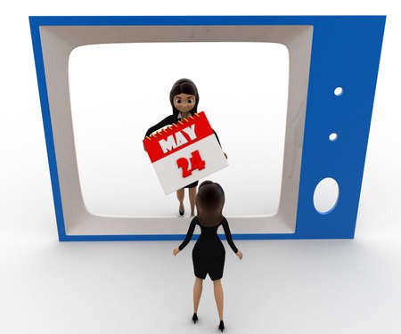 viewing angle: 3d woman watching woman with calender on tv concept on white background,  top  angle view