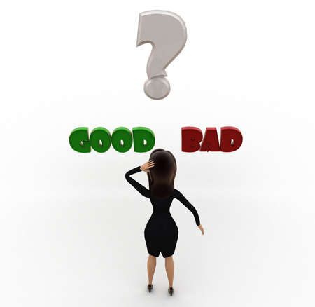 bad idea: 3d woman confused between good and bad concept on white background, front angle view