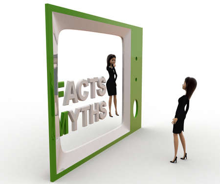 viewing angle: 3d woman watching fact and myths on tv concept on white background, side  angle view