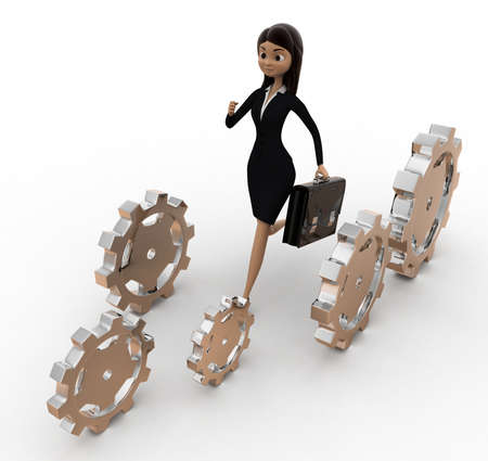 angle: 3d woman running with cogwheels concept on white background, top angle view