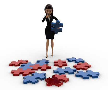 solve: 3d woman try to solve jigjaw puzzle concept on white background, front angle view