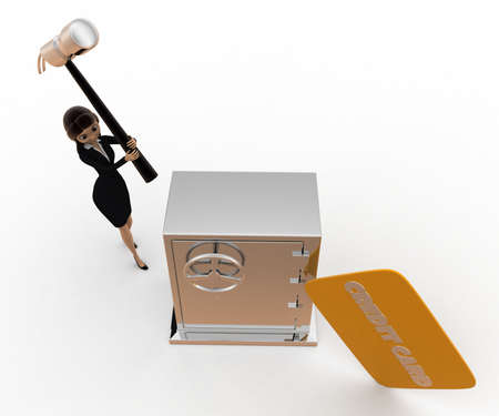 top angle view: 3d woman hit lock with hammer and credit card concept on white background, top angle view Foto de archivo