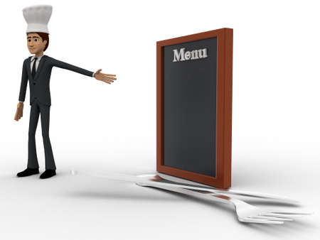 3d chef: 3d chef presenting menu concept on white isolated background , front angle view