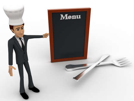 3d chef: 3d chef presenting menu concept on white isolated background , top angle view