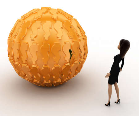 golden ball: 3d woman with big golden ball concept on white background,  back angle view Stock Photo