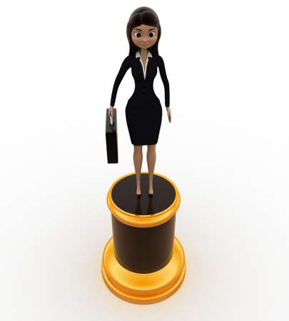 best employee: 3d best employee award woman statue concept on white background, front angle view Stock Photo