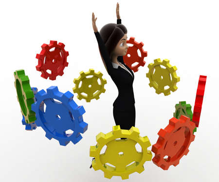 her: 3d woman flying many cogwheel around her concept on white background, side angle view