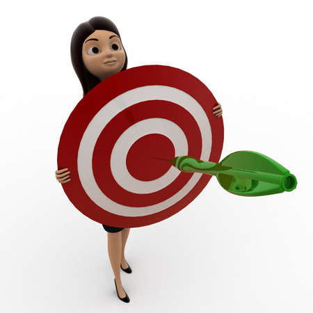 dart on target: 3d woman holding dart target in hands concept on white background, top angle view