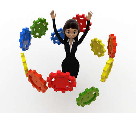 her: 3d woman flying many cogwheel around her concept on white background, front angle view