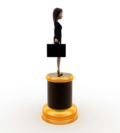 best employee: 3d best employee award woman statue concept on white background, side angle view