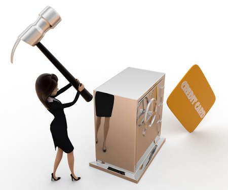 hit: 3d woman hit lock with hammer and credit card concept on white background, side angle view