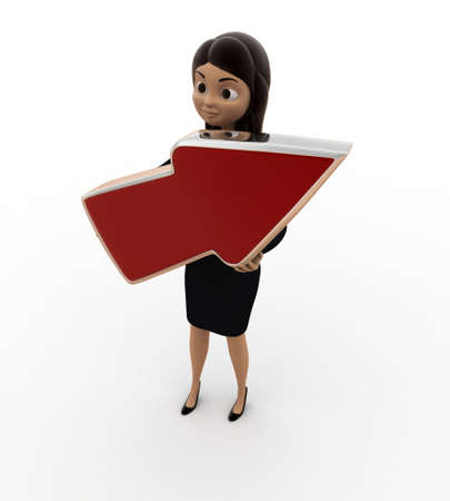 top angle: 3d woman holding red arrow in hand concept on white background, top angle view Stock Photo