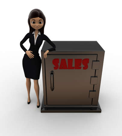 locker: 3d woman with sales locker concept on white background,  top angle view