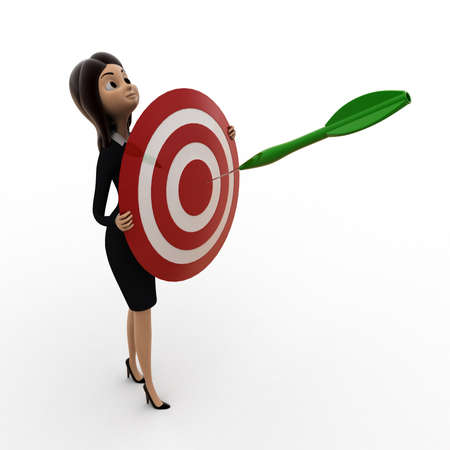 dart on target: 3d woman holding dart target in hands concept on white background, front angle view Stock Photo