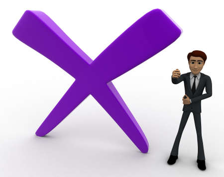 cross ties: 3d man with big cross mark concept on white background,  side angle view Stock Photo