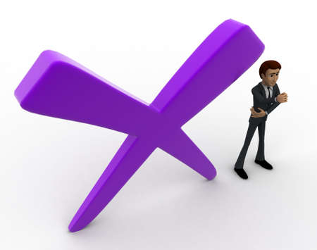 cross mark: 3d man with big cross mark concept on white background,  top  angle view
