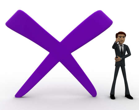 cross mark: 3d man with big cross mark concept on white background, front angle view Stock Photo