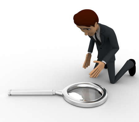 picking up: 3d man picking up magnifying glass concept on white background, side angle view