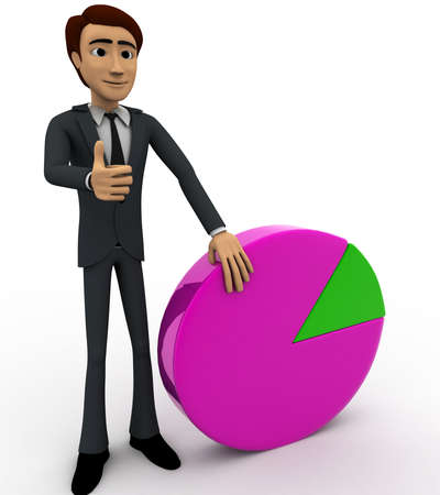 beside: 3d man standin beside pie graph concept on white background,  side angle view