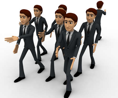 own: 3d man going on own way concept on white background, front angle view