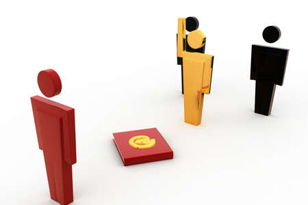 three dimensions: 3d man select right person concept on white background, side angle view