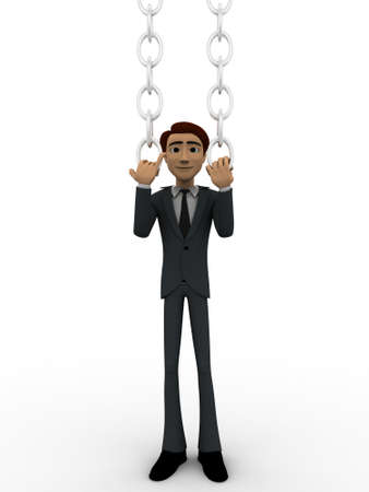man pushing: 3d man pushing chain concept on white background, front angle view