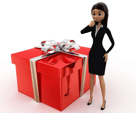 three dimensions: 3d woman with big gift box concept on white background,  side  angle view