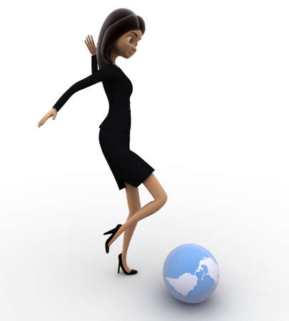 hitting: 3d women hitting globe with his legs concept on white isolated background , side angle view Stock Photo