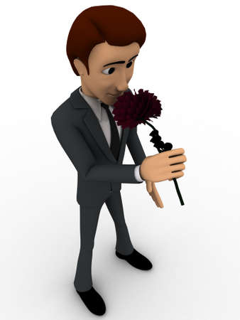 smelling: 3d man smelling flower concept on white background,  side  angle view Stock Photo