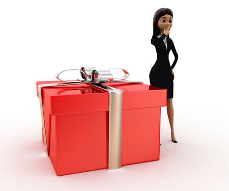 three dimensions: 3d woman with big gift box concept on white background, front angle view