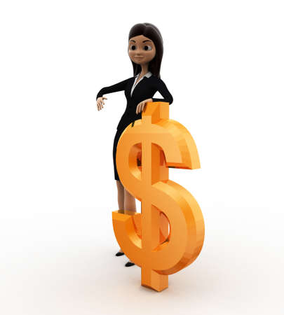 three dimensions: 3d woman with dollar concept on white background, front angle view
