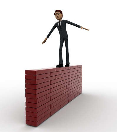 balancing: 3d man balancing and walking on wall concept on white background, side angle view