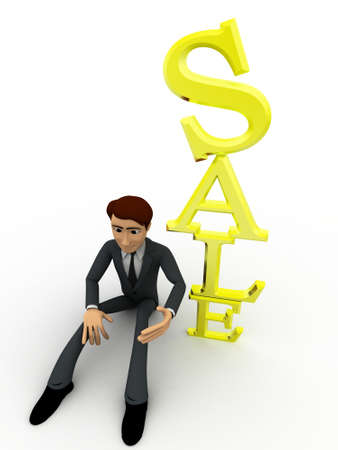 sales person: 3d man sitting beside vertical sale text concept on white background, top angle view
