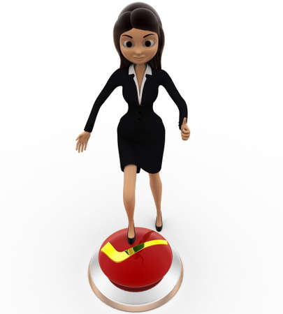 button front: 3d woman press right button with leg concept on white background, front angle view