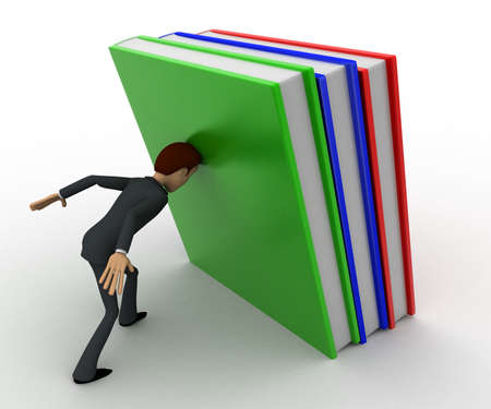 book jacket: 3d man push books with head concept on white background,  side angle view Stock Photo