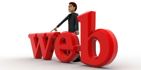 top angle view: 3d man with web text concept on white background, top angle view Foto de archivo