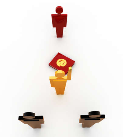 select: 3d man select right person concept on white background, front angle view