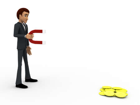 attract: 3d man try to attract dollar with magnet concept on white background, side angle view