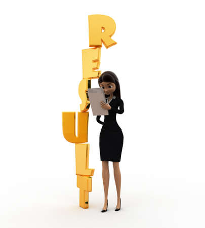 result: 3d woman with vertical result text concept on white background, front angle view