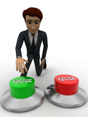 button front: 3d man press green quiz button concept on white background, front angle view Stock Photo